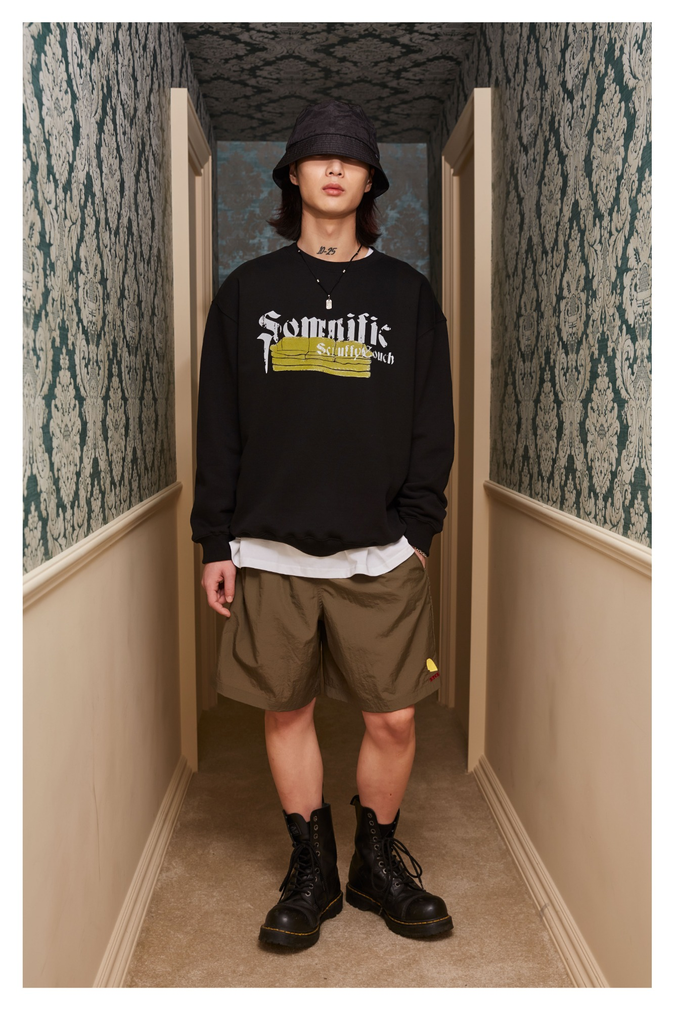 Dart Logo Over Fit Shorts (Khaki)